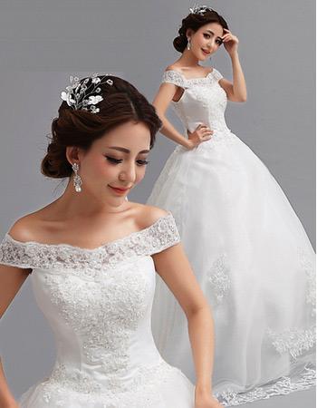 Off-the-shoulder A-Line Court Train Satin Wedding Dresses for Spring