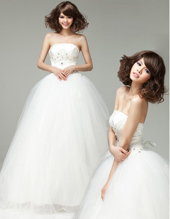 Custom Elegant Strapless A-Line Floor Length Organza Wedding Dresses