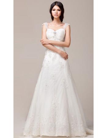 Inexpensive Straps A-Line Brush/ Sweep Train Satin Wedding Dresses