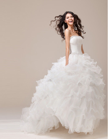 Affordable Ball Gown Ruffle Strapless Sweep Train Wedding Dresses