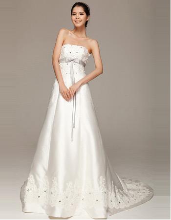 Formal Satin Strapless A-Line Court Train Wedding Dresses for Spring