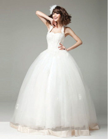 Discount Ball Gown Halter Floor Length Organza Wedding Dresses