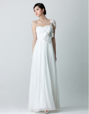 Vintage One Shoulder Chiffon Floor Length Sheath Wedding Dresses