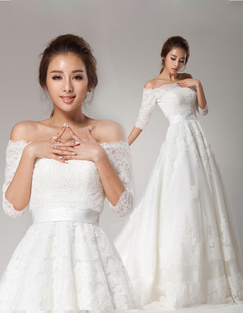 Off-the-shoulder Half Sleeves Lace Sweep Train A-Line Wedding Dresses