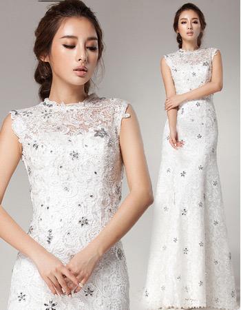 Inexpensive Vintage Lace Sheath Brush/ Sweep Train Wedding Dresses