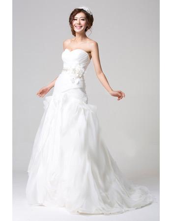 Affordable Organza Brush Train Sweetheart A-Line Wedding Dresses