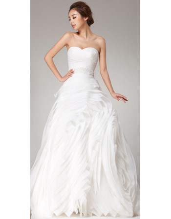 Romantic Pleated Organza Sweetheart Sweep Train A-Line Wedding Dresses