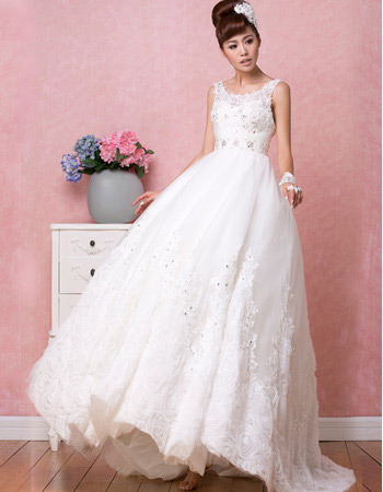 Vintage Classic A-Line Satin Scoop Brush/ Sweep Train Wedding Dresses