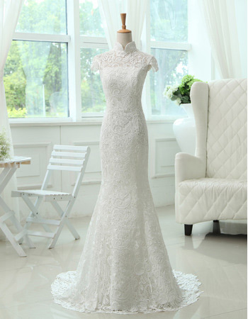 Discount Mandarin Collar Lace Mermaid Sweep Train Wedding Dresses