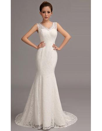 Custom Sexy Lace Mermaid V-Neck Brush/ Sweep Train Wedding Dresses