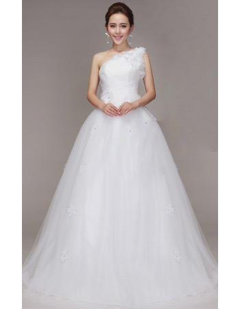 Inexpensive One Shoulder A-Line Floor Length Organza Wedding Dresses