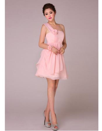 Elegant A-Line One Shoulder Short Chiffon Bridesmaid Dresses