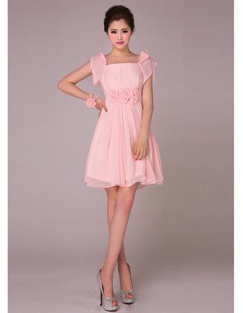 Elegant Cap Sleeves Chiffon Short Empire Bridesmaid Dresses for Summer