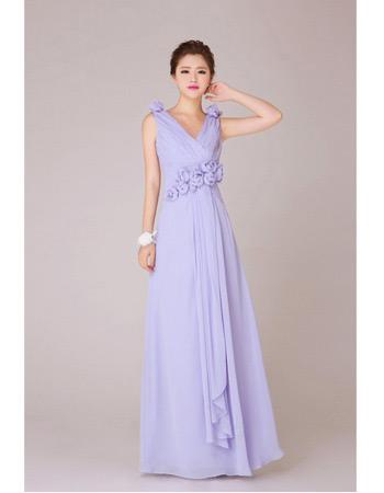 Affordable V-Neck Chiffon Floor Length A-Line Bridesmaid Dresses