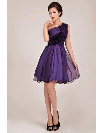 Affordable One Shoulder Short A-Line Ruffle Bridesmaid Dresses