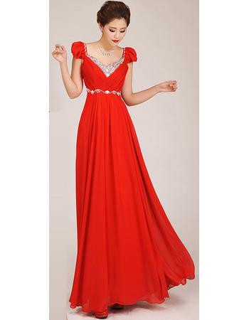 Custom Cap Sleeves A-Line Chiffon Floor Length Bridesmaid Dresses
