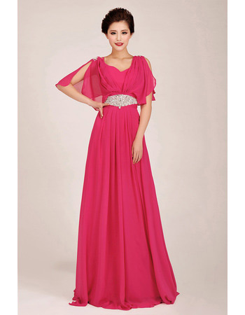 Inexpensive Cap Sleeves Chiffon Sweep Train A-Line Bridesmaid Dresses