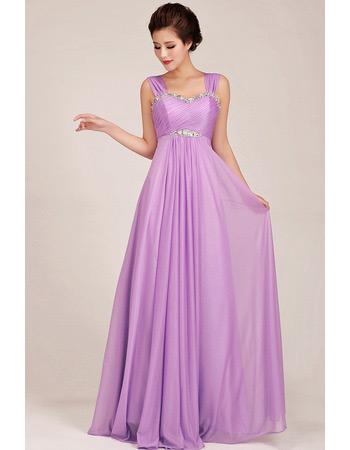 Affordable Chiffon Empire Straps Floor Length Bridesmaid Dresses