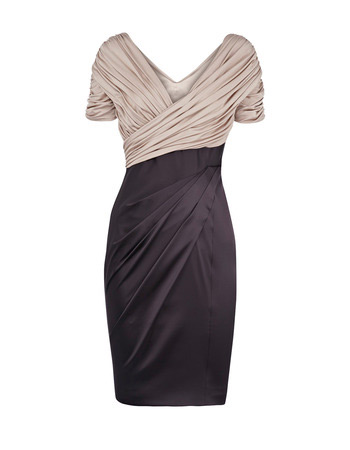Pleated Short Sleeves V-Neck Short Mother of the Bride/ Groom Dresses