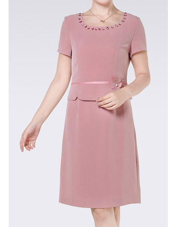 Chiffon Short Sleeves Short Column Mother of the Bride/ Groom Suits