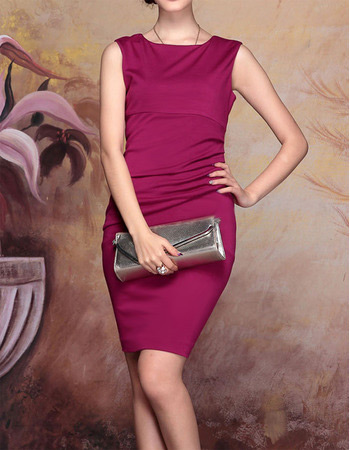 Simple Satin Column/ Sheath Short Mother of the Bride/ Groom Dresses