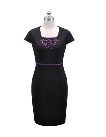 Column Short Sleeves Short Satin Mother of the Bride/ Groom Dresses