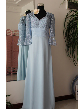 Lace Chiffon Long Mother of the Bride/ Groom Dresses with Sleeves