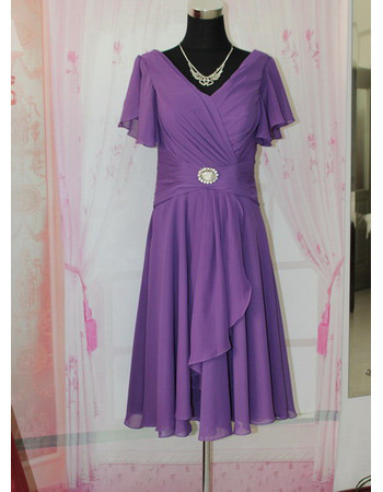 Chiffon Short Cap Sleeves V-Neck Mother of the Bride/ Groom Dresses