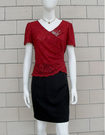 Lace Short Sleeves Short V-Neck Mother of the Bride/ Groom Dresses