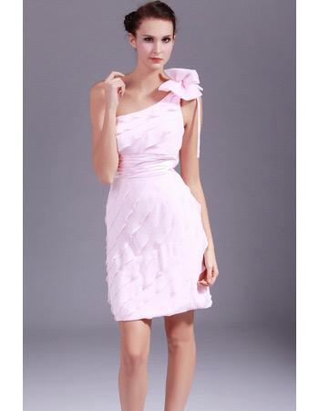 Custom One Shoulder Chiffon Tiered Short Sheath Homecoming Dresses