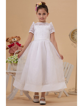 Lovely Cap Sleeves Organza Ankle Length First Communion Dresses