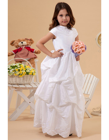 Custom Cute Short Sleeves Pick-Up Taffeta First Communion Dresses