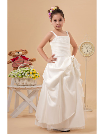 Spaghetti Straps Satin Floor Length First Communion Dresses