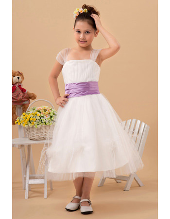 Lovely Tea Length Organza First Communion Dresses with Sashes