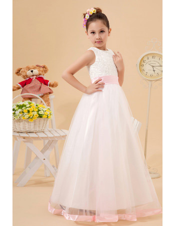 Discount Cute Ball Gown Satin Organza Beaded First Communion Dresses