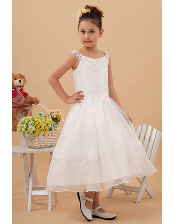 New Style Tea Length A-Line Organza First Communion Dresses
