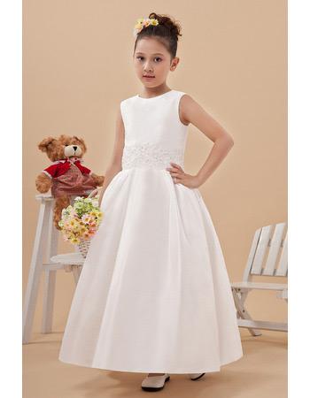 Custom Taffeta Ankle Length Ball Gown First Communion Dresses