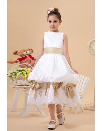New Style Pick-Up Skirt Tea Length Satin First Communion Dresses
