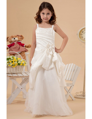 Custom A-Line Straps Sweep Train Satin Tulle First Communion Dresses