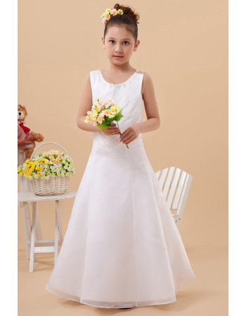 New Style A-Line Organza Satin Floor Length First Communion Dresses
