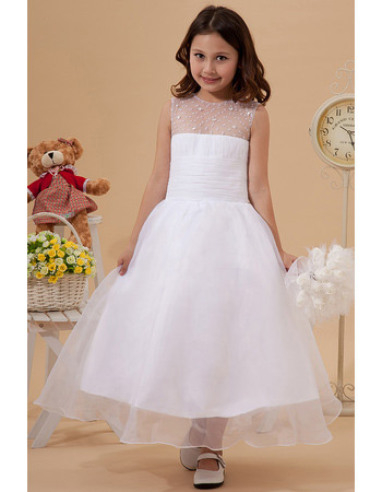 Affordable Beaded A-Line Organza Tea Length First Communion Dresses