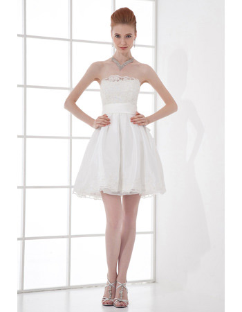 Affordable Casual A-Line Strapless Taffeta Short Beach Wedding Dresses