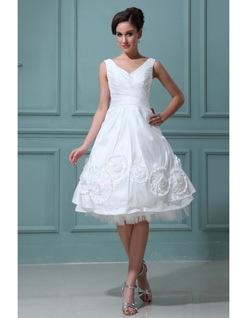 Casual Knee Length V-Neck Short Reception Wedding Dresses for Summer ...