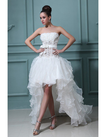 Discount Sexy High-Low Ruffle Strapless A-Line Organza Wedding Dresses