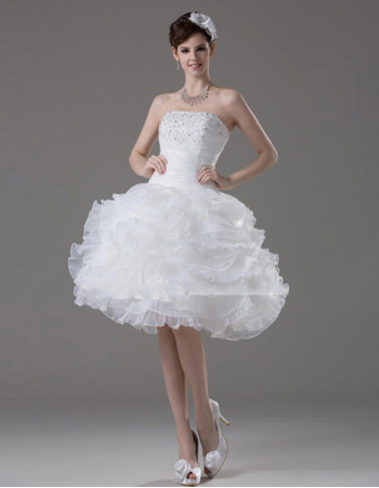 Casual Ball Gown Strapless Short Petite Wedding Dresses for Summer