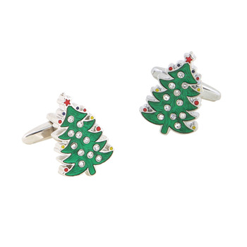 Christmas Tree Diamonded Ornaments Cufflinks for Christmas with Boxes