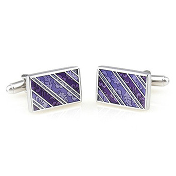 Vintage Purple Rectangle Men's Shirt Cufflinks with Gift Box