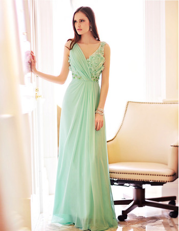 2019 Inexpensive Sexy Chiffon V-Neck Floor Length Evening Dresses
