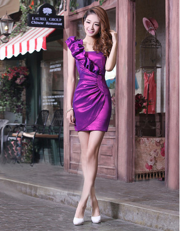 Discount Sexy Sheath One Shoulder Short Homecoming/ Party Dresses