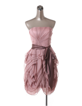 Affordable Sexy Strapless Short Chiffon Tiered Homecoming Dresses